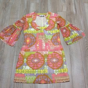 Trina Turk Pink & Green Bell sleeve cotton Dress 0